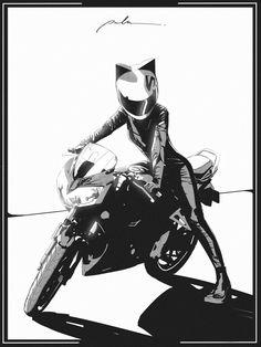 Fille Anime Cool, Cool Anime Girl, Anime Art Girl, Manga Art, Manga Anime, Anime Motorcycle, Art Sketches, Art Drawings, Character Art