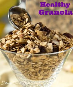 Healthy Granola to jump start your day!  This Healthy Granola is a fit-fabulous way to get your body moving. This healthy granola gives you the energy you need all day!  A savory combination of oats, pecans, and almonds topped off with a sweet and salty burst of flavor.