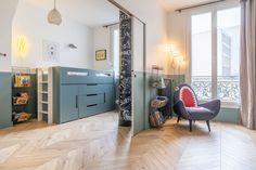 Appartement Neuilly sur Seine : un haussmannien modernisé en couleurs - Côté Maison My Room, Home And Living, Kids Bedroom, Locker Storage, Sweet Home, New Homes, Loft, Interior, Furniture