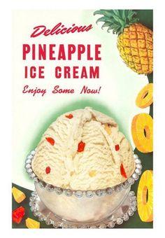 Pineapple Ice Cream - Vintage Color Illustration