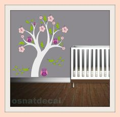 Wall Decal Tree With 4 Owl Leaves And Pink Flower Size 135*125 cm. Home Decor Nursery Wall Sticker  $43.04 USD