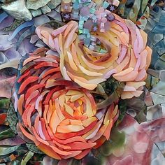 Joi Tripp, beautiful floral mosaic before grouting