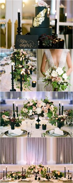 wedding reception idea - This Montreal wedding inspiration shoot brings moody romance with black accents and romantic designs. Photos by Kevin Chin Photography. Wedding Reception Decorations, Wedding Themes, Wedding Colors, Wedding Styles, Wedding Flowers, Mod Wedding, Wedding Tips, Wedding Planning, Perfect Wedding