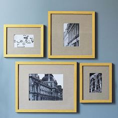 DIY West Elm Knock-off photo frames:  Spray paint picture frame and paper grocery bags for matting