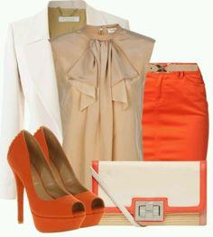 work outfit - beige, orange