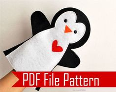 Penguin Hand Puppet PDF Sewing Pattern A511 by Mariapalito on Etsy #Handpuppets