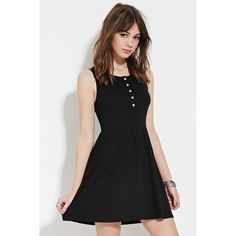 Forever 21 Women's  Buttoned Babydoll Dress ($18) ❤ liked on Polyvore featuring dresses, full length black dress, forever 21, black dress, button front dress and black sleeveless dress
