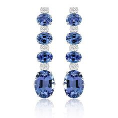 d4c30d5e0 Anniversary drop earrings from Sutra with 30 cts. t.w. tanzanite and 3 cts.  t.w.