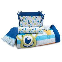 [Safe and sound]Baby will feel safe with Mike and Sulley nearby as they star on our <i>Monsters, Inc.</i> four-piece crib bedding set. The colorful motif on the soft comforter, fitted sheet, dust ruffle and nursery organizer will keep baby company! Monsters Inc Nursery, Monsters Inc Baby, Mens Bedding Sets, Crib Bedding Sets, Comforter, Disney Nursery, Baby Disney, Disney Cars, Baby Boy Doll Clothes