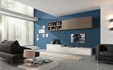 pared de color azul en el salón