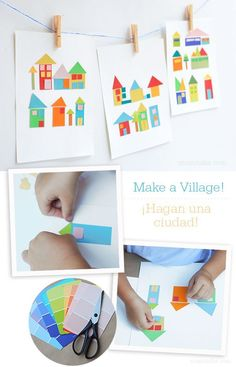 Cut out a bunch of pieces that can be used for houses, windows, doors, roofs and let kids build their little town.