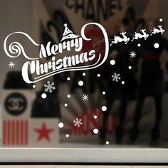 Christmas Snow Elk Shop Window Glass Decoration PVC Stickers