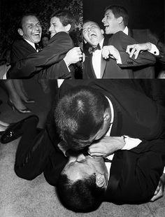 """On the night Frank Sinatra won his Oscar, Jerry Lewis tackled him backstage and yelled out, ""I'm so proud of you, I'm going to kiss you on the mouth!"" Sinatra said, ""No, no, don't kiss me on the mouth!"" This moment was caught by a nearby photographer."