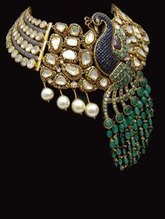 Polki Necklace with Peacock motif with Turquoise