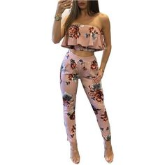 1dd900e3065 Floral Print Two Piece Backless Jumpsuit - Trendsology Overalls