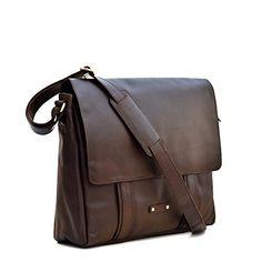 Style n Craft 392005 Messenger Bag in Full Grain Dark Brown Leather - Front Angled View Dark Brown Leather, Distressed Leather, Suede Leather, Brown Fashion, Leather Fashion, Office Bags For Men, Brown Leather Messenger Bag, Leather Working, Shoulder Strap