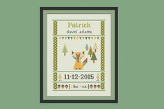 cross stitch baby birth sampler birth announcement fox in the forest by Happinesst