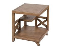 Mesa rinconera de madera de acacia Amara - marrón