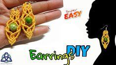How to Make Macrame Earrings Tutorial- Make Earrings Easy Macrame Earrings Tutorial, Earring Tutorial, Macrame Necklace, Macrame Jewelry, Macrame Bracelets, Loom Bracelets, Chevron Friendship Bracelets, Friendship Bracelets Tutorial, How To Make Earrings