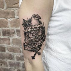 "113 Likes, 3 Comments - Swahili Bob's Tattoo (@swahilibobstattoo) on Instagram: ""Pigeon to a lost family member. By Hampus @hampatattoo For booking and questions…"""