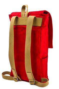 Red backpack canvas backpack laptop backpack school by Tchakon