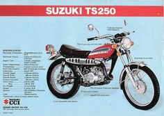 Dad bought one for Victor and me to head outback on :) Suzuki Motos, Suzuki Bikes, Suzuki Motorcycle, Vintage Bikes, Vintage Motorcycles, Cars And Motorcycles, Best Motorbike, Motorcycle Posters, Japanese Motorcycle