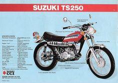 Dad bought one for Victor and me to head outback on :) Suzuki Motos, Suzuki Bikes, Suzuki Motorcycle, Vintage Bikes, Vintage Motorcycles, Cars And Motorcycles, Bicycle Engine, Best Motorbike, Motorcycle Posters