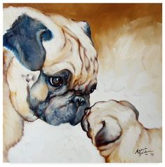 Watercolor Animals, Watercolor Paintings, Black Pug Puppies, Pug Love, Animal Paintings, Dog Art, Oeuvre D'art, Pet Portraits, Cute Animals