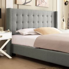 INSPIRE Q Marion Grey Linen Nailhead Wingback Platform Bed | Overstock.com Shopping - The Best Deals on Beds