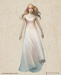 A long white dress is a decoration in itself, but it will not hurt to adorn it with a pink flower that will give some more lightness to the whole character.  #artifexmundi #fashion #character #adventure    www.artifexmundi.com/ www.facebook.com/NightmaresFromTheDeep