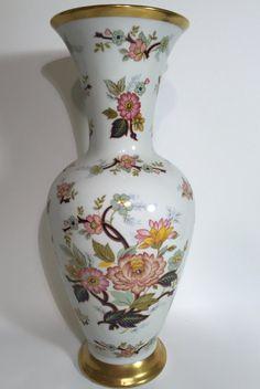 Vintage Large Porcelain Flower Vase Pretty Painted Flowers with Gold Rim Bavaria Royal Porzellan KPM Handcrafted Germany