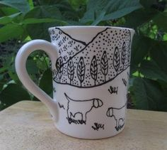 Hand painted Ceramic Mug black and white outline by lavenderhollow, $10.00