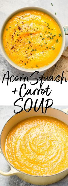 This vegetarian acorn squash and carrot soup is healthy, fresh, flavorful, and takes the chill Acorn Squash Recipes Healthy, Acorn Squash Soup Recipe, Vegetarian Recipes, Cooking Recipes, Healthy Recipes, Vegan Soups, Vegitarian Soup Recipes, Free Recipes, Healthy Soups