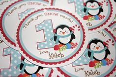 Penguin Candy Land Favor Gift Tags  Boy or Girl by PinkInkCreation, $6.00