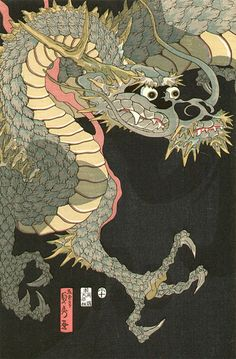 "Utagawa Sadahide(1807-1873) ""Dragon & Tigers"", Japan"