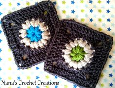 Nana's Mini Puff Flower Square tutorial, thanks so xox Crochet Motif Patterns, Crochet Blocks, Crochet Squares, Crochet Granny, Crochet Yarn, Free Crochet, Granny Squares, Crochet Flowers, Yarn Organization