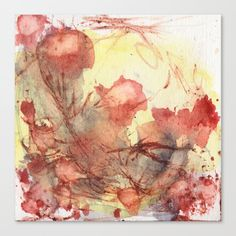 Pops of poppy in bright sunny yellow field Larghe wall art by StudioRS Designs