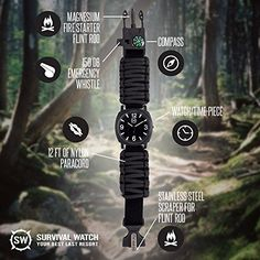 Survival Watch - Paracord Survival Gear / Adjustable Paracord Watch with Fire Starter, Whistle, Compass - Water Proof - Best Survival Gear - 4 Colors (Black) - CUSTOMERS SAY: I can't say enough good-a camper's dream! | A must-have for any outdoor enthusiast!. ULTIMATE SURVIVAL TOOL: Perfect for camping, wilderness hikes, outdoor enthusiasts & military. 5 ATM WATER RESISTANT: Can be submerged for up to 15 minutes. Features luminous face for night use. ADJUSTABLE PARACORD WRIST BAND: 12+ ft…