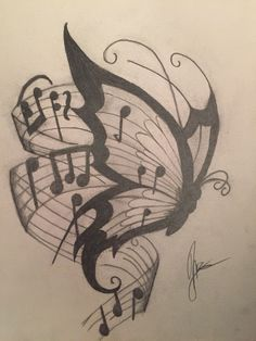 Music Drawings, Art Drawings Sketches Simple, Pencil Art Drawings, Beautiful Drawings, Simple Tumblr Drawings, Drawing Ideas, Drawing Drawing, Easy Butterfly Drawing, Butterfly Sketch