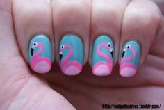 Flamingos | 14 Insanely Cute Animal Nail Art