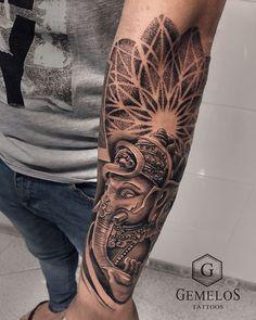 Ganesh Tattoo, Hindu Tattoos, Shiva Tattoo Design, Forarm Tattoos, Buddha Tattoos, Leg Tattoos, Black Tattoos, Body Art Tattoos, Best Sleeve Tattoos