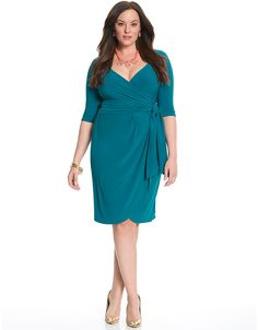 Harlow faux wrap dress by Kiyonna | Lane Bryant