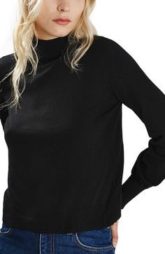 Topshop Blouson Sleeve Mock Neck Sweater available at #Nordstrom