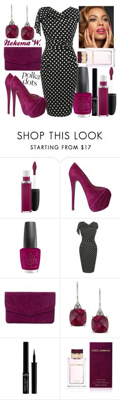 """Polka Dots"" by sexyshonda ❤ liked on Polyvore featuring MAC Cosmetics, Christian Louboutin, OPI, WithChic, Phase Eight, Ice, Giorgio Armani and Dolce&Gabbana"