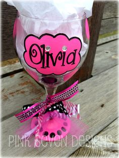 Pink and Girly Personalized Wine Glass. $18