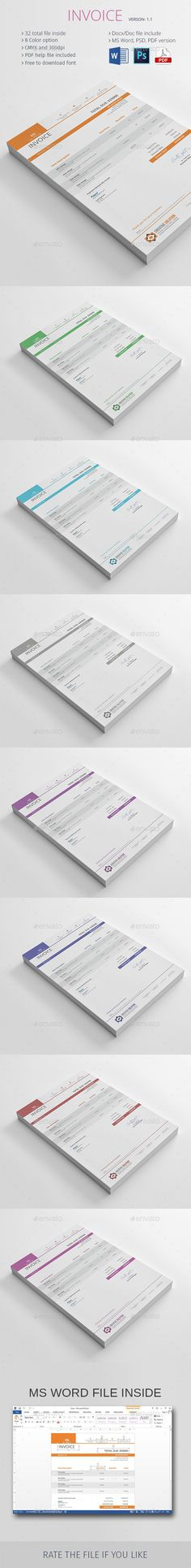 Modern Clean Invoice Template, Fonts and Proposal templates - design your own invoice