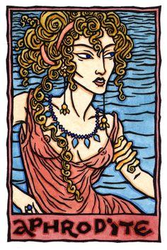 Yo soy el cuerpo del amor. Afrodita es la diosa griega del amor y la belleza, uno de los doce dioses del Olimpo. En la Ilíada, Ella es la hija de Zeus y Dione del Titoness, aunque la leyenda habitual es que Ella nació de la sangre y espuma en la superficie del mar después de Urano fue castrado por Cronos. Ella representa los poderes creativos de la naturaleza y el mar.  Elegante y magníficamente seductora, Afrodita poseía un cinturón mágico que la hizo irresistible a todos los que la vieron…