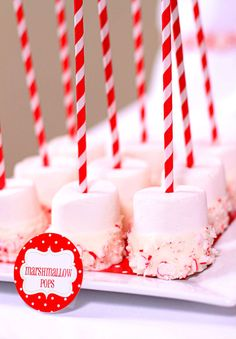 start with store-bought Rice Krispie Treats and cut into bite-size portions. Add a lollipop stick. Dip in melted white chocolate and then drizzle with melted red Candy Melts