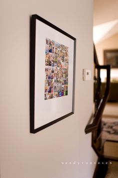 "ways to display instagram photos  | love the tiny collage of photos (each photo is 1"" square)"