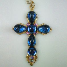 Anne Boleyn Sapphire Cross Necklace ~ Queen Elizabeth's I mother ~